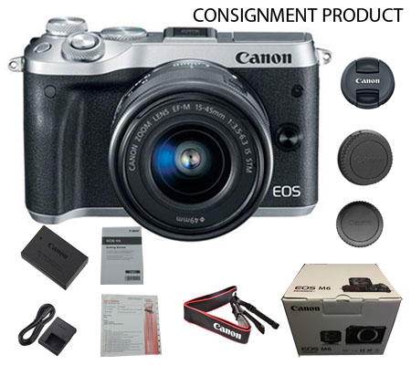 :::USED:::Canon EOS M6 kit EF-M 15-45mm  IS STM Silver (Excellent #163/831) Consignment