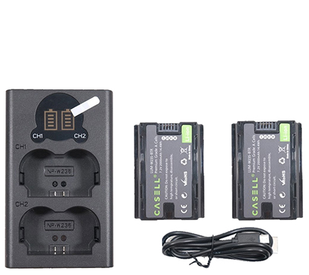Casell Battery Fuji NP W235 2Pack + Dual Charger Fujifilm NPW235