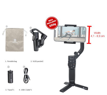 FeiyuTech Vlog Pocket 2 3-Axis Gimbal Stabilizer For Smartphone Black