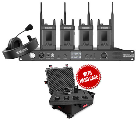 Hollyland Syscom 1000T Full-Duplex Intercom System with 4 Beltpacks and Headsets