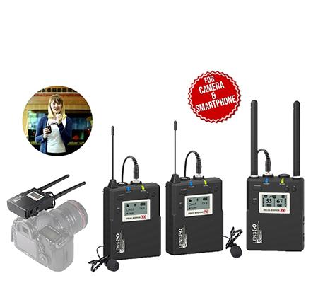 LensGo LWM-338C TX+TX+RX Dual Transmitter Wireless Lavalier Microphone System