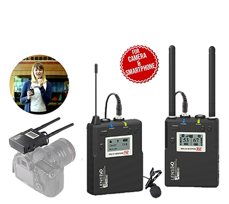 LensGo LWM-338C TX+RX Single Transmitter Wireless Lavalier Microphone System