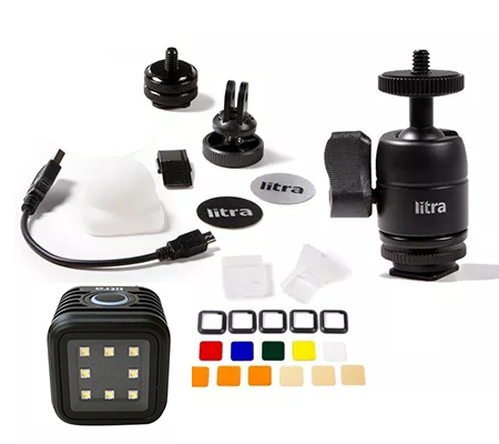 Litra Torch Photo and Video Light + Cold Shoe Ball Mount + Filter Set