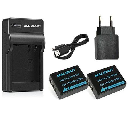 Malibah Battery NP-W126 Dual Battery+Charger for Fujifilm for XA/XE/XPRO/XT10/XT20/XT30