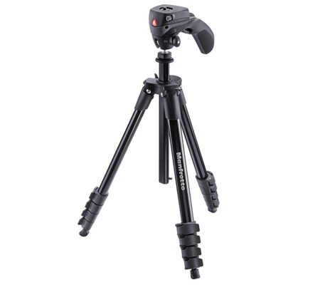 Manfrotto Compact Action Aluminum Tripod Black MKCOMPACTACN-BK