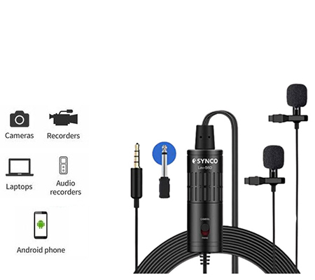SYNCO Lav S6D Dual Lavalier Microphone for Camera Smartphone Laptop
