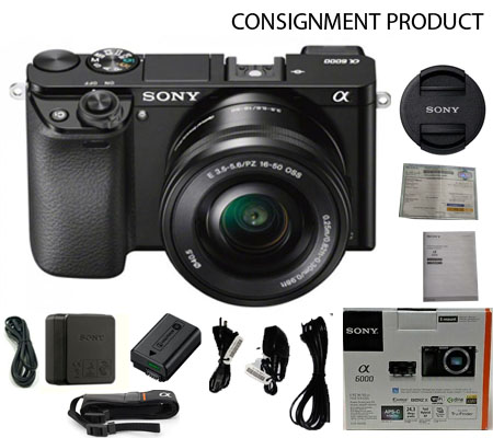 :::USED:::Sony Alpha A6000 kit 16-50mm f/3.5-5.6 OSS Black Exmint #201/07A Consignment
