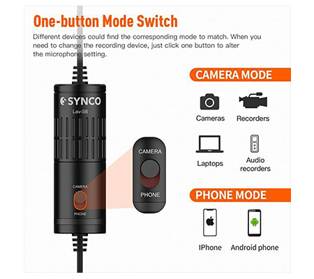 Synco Lav S6P Lavalier Microphone for DJI Osmo Pocket Hp Camera