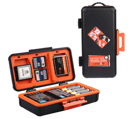LensGo D950 Camera Battery and Memory Card Case Orange