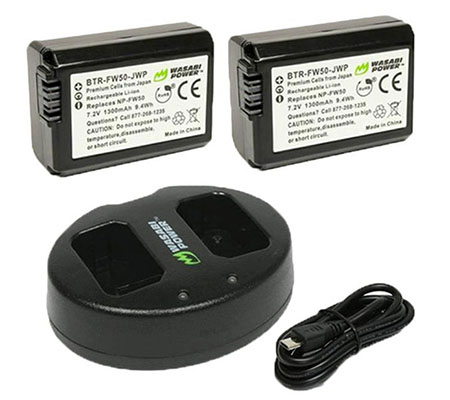 :::USED:::Wasabi Power Battery (2pack) & Charger for Sony NP-FW50 Exmint