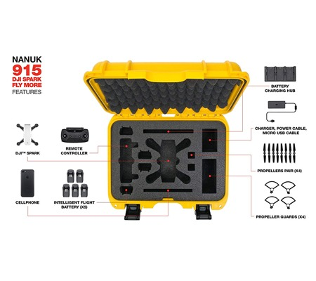 Nanuk 915 Case for DJI Spark Fly More Combo (Yellow)