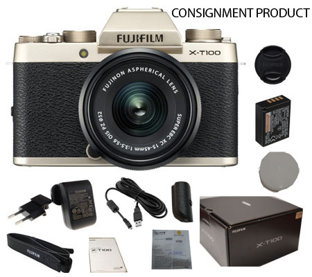 :::USED:::Fujifilm XT100 kit XC15-45 OIS PZ Champagne Gold (100% Brand New) Consignment