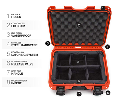 Nanuk 915 Waterproof Hard Case with Padded Dividers Orange