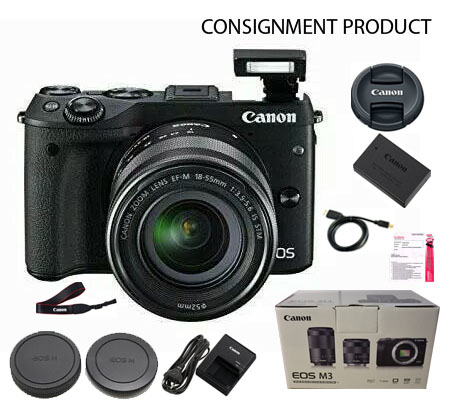 :::USED:::Canon EOS M3 Kit EF-M 18-55 IS STM Black (Ex-mint) Kode 280/372 Consignment