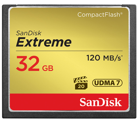 SanDisk CF Extreme 32GB UDMA 7 (120MB/s Read and 85MB/s Write)