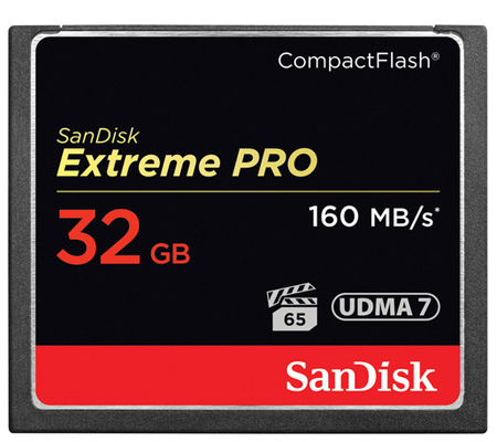 SanDisk CF Extreme Pro 32GB UDMA 7 (160MB/s Read (1067X) and 150MB/sec Write (1000X)