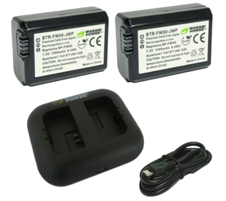 Wasabi Power Battery (2pack) & Charger for Sony NP-FW50