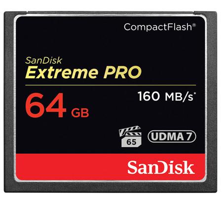SanDisk CF Extreme Pro 64GB UDMA 7 (160MB/sec Read (1067X) and 150MB/sec Write (1000X)
