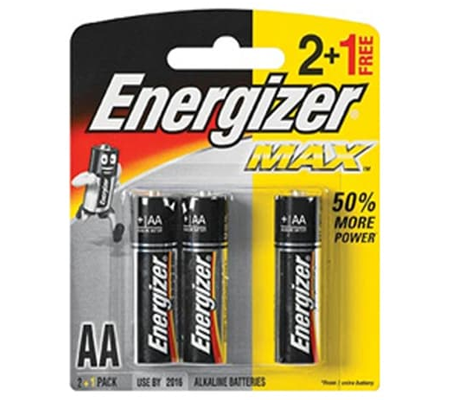 Energizer Alkaline AA 2pcs + 1pc Free Battery