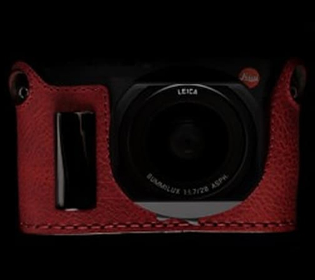 Angello Pelle Half Case for Leica Q Red with Grip