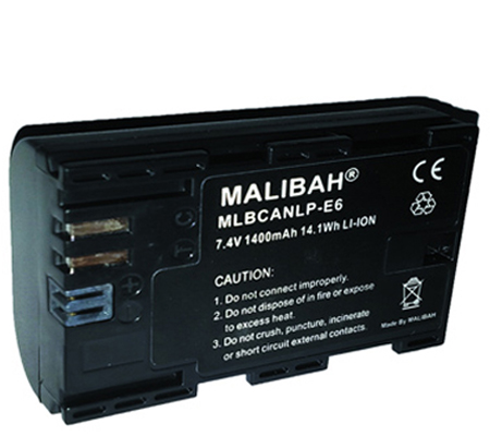 Malibah Canon LP-E6 Battery for Canon EOS 60D/70D/80D/7D/5D II/5D III