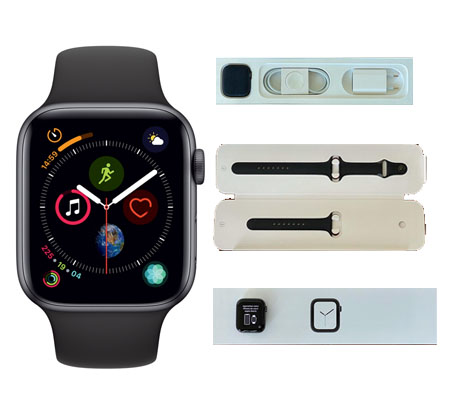 :::USED:::Apple Watch Series 4 (GPS, 44mm) - Space Gray Aluminium Case with Black Sport Band  (MINT)