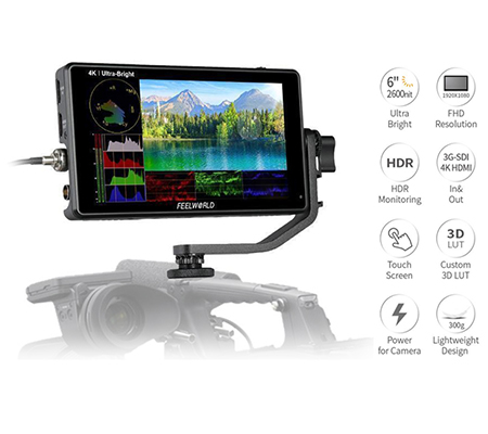FeelWorld LUT6S 6Inch HDR/3D LUT 4K HDMI and SDI Touchscreen Field Monitor