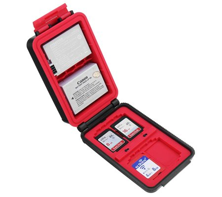 LensGo D910 Camera Battery and Memory Case Red