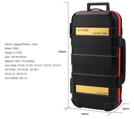 LensGo D850 Luggage Camera Battery and Memory Case