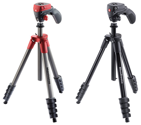 Manfrotto Compact Action Aluminum Tripod Red