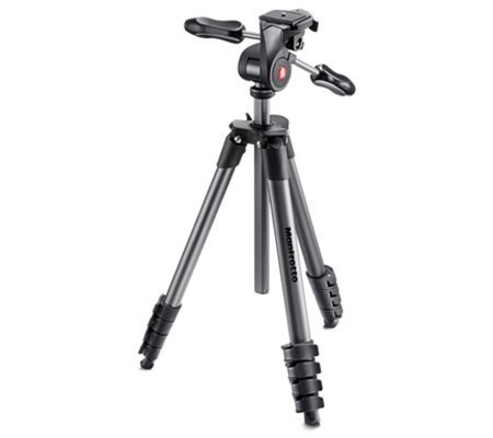 Manfrotto Compact Advanced Aluminum Tripod 3-way head (MKCOMPACTADV-BK)