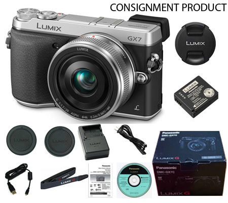 :::USED:::Panasonic Lumix DMC-GX7 Kit 20mm f/1.7 II Silver Exmint kode 038/100 Consignment