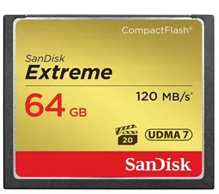 SanDisk Extreme CF 64GB 800x UDMA 7 (120MB/sec Read and 85MB/sec Write).