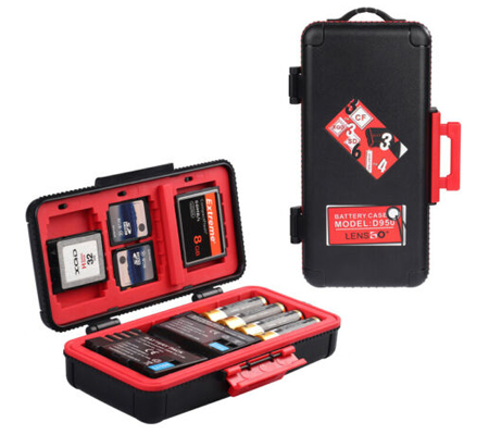 LensGo D950 Camera Battery and Memory Card Case Red