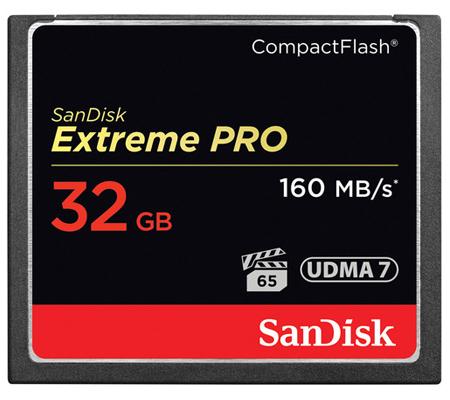 SanDisk CF Extreme Pro 32GB UDMA 7 (160MB/s Read (1067X) and 150MB/sec Write (1000X)