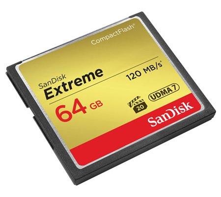 SanDisk Extreme CF 64GB 800x UDMA 7 (120MB/sec Read and 85MB/sec Write).