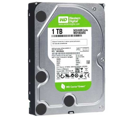 Western Digital Caviar Green 1TB SATA 3 GB/s, 64 MB Cache (WD10EARX) (3.5 Inch Hard Disk Drives)