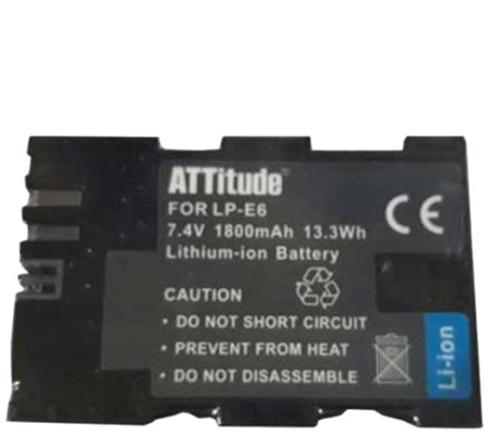 ATTitude Canon LP-E6 Battery for Canon 5DSR/5DIV/5DIII/5DII/6D/7D series/80D/70D/60D