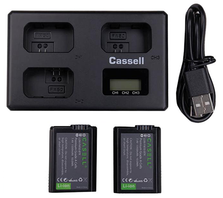 Casell Battery NP-FW50+Triple Charger for Sony A5100/A6000/A6400/A7/A7II/A7R/A7RII/A7SII