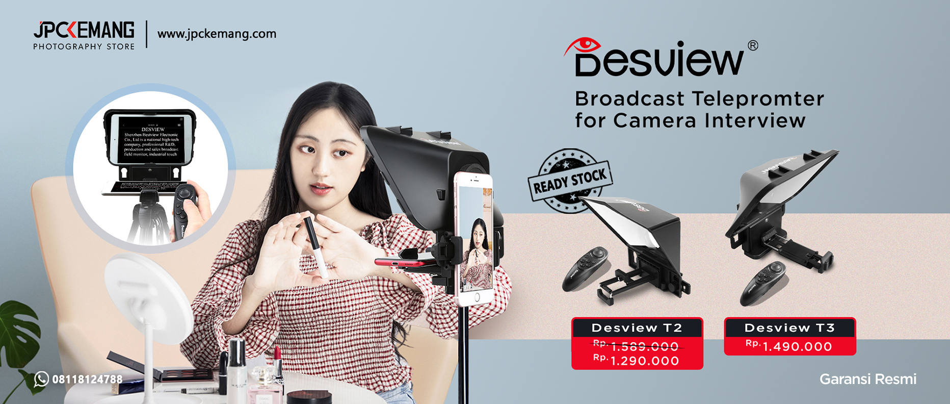 Desview T2 dan T3 Teleprompter for Camera Interview