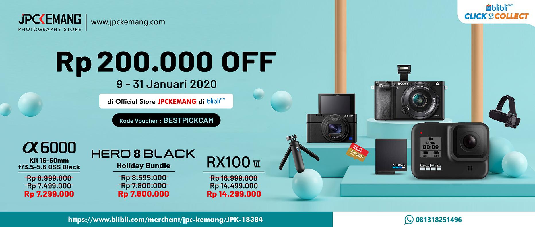 Promo Blibli Gopro Hero 8 Holiday, Sony A6000, and Sony RX100 VI
