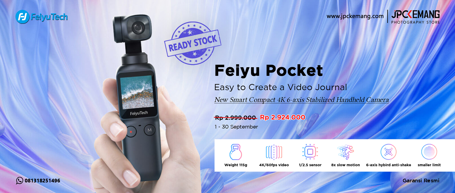 Feiyu Pocket New Smart Compact 4K Stabilized Handheld Camera