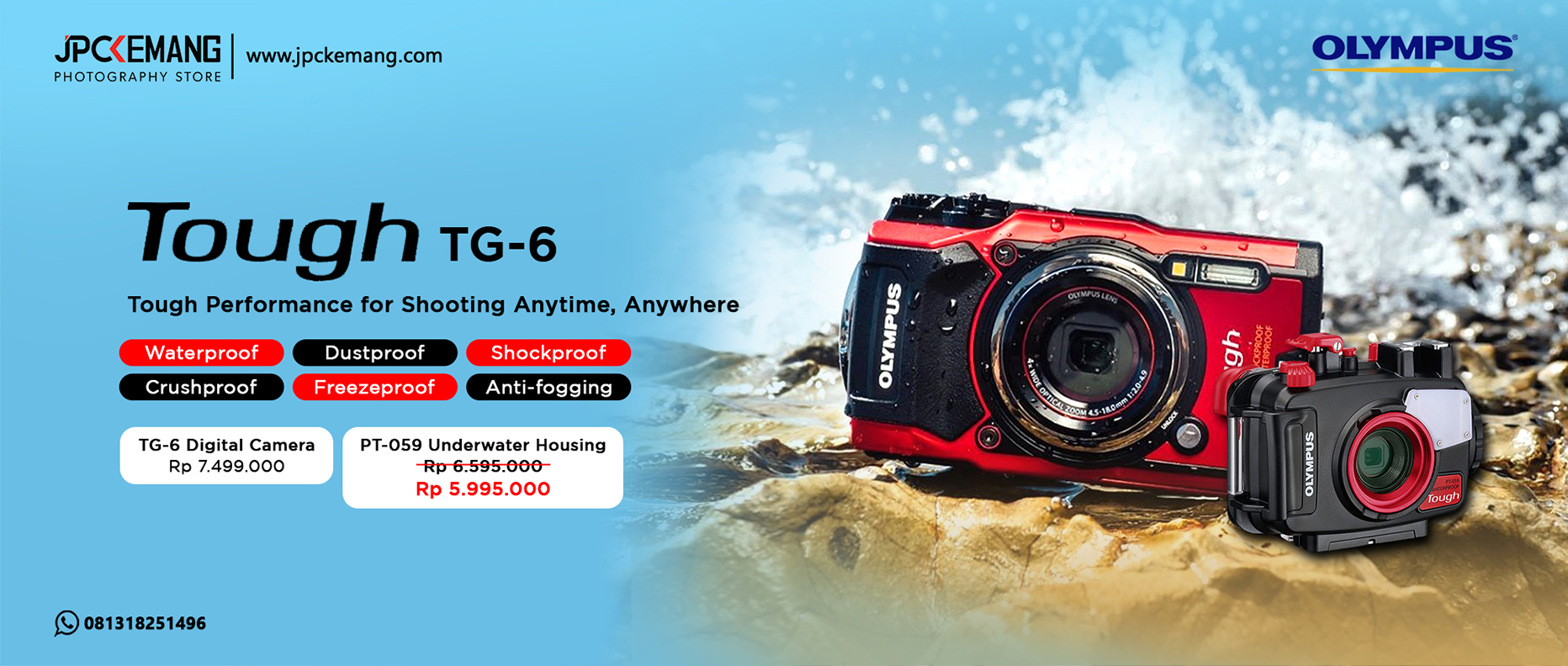 Olympus TG 6 dan PT 059 Underwater Housing