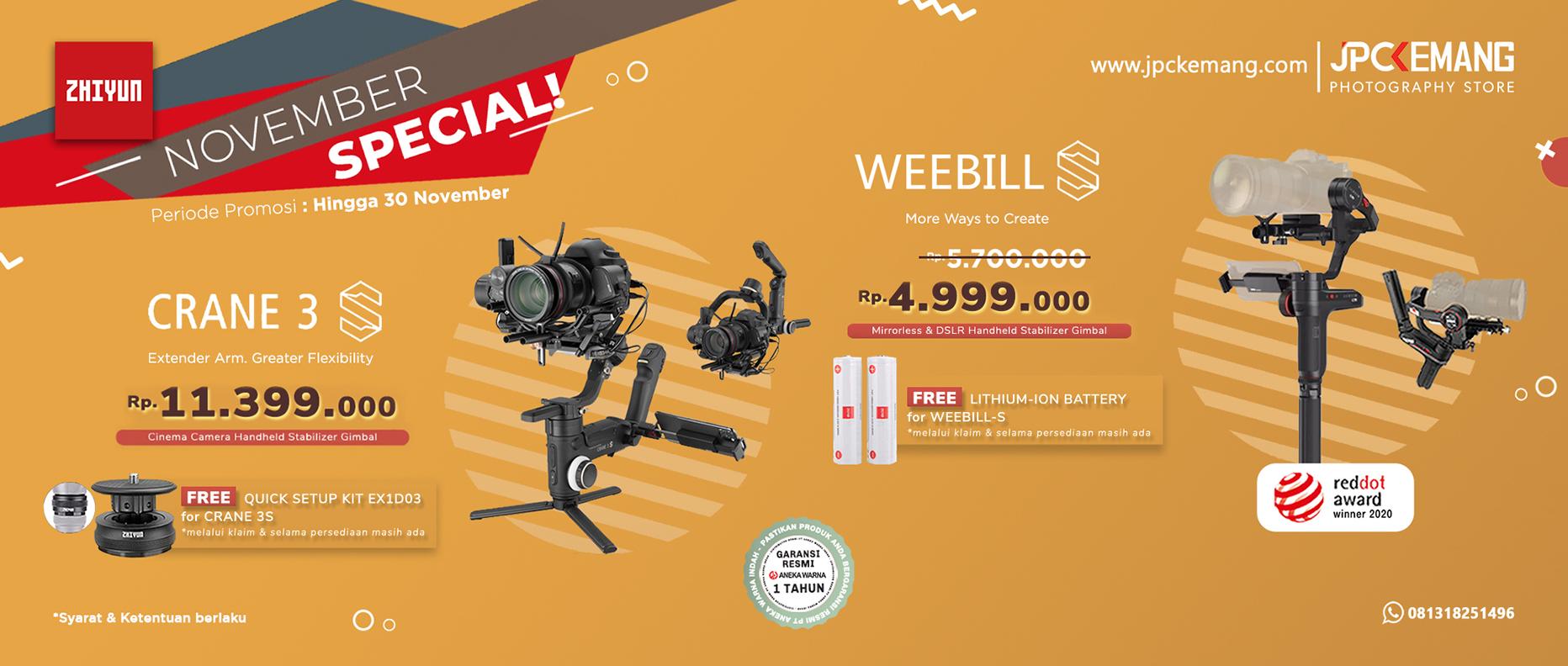 Zhiyun Crane 3S dan Weebil S Gimbal Stabilizer
